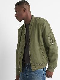 Gap Cotton Linen Bomber Jacket - Army jacket green