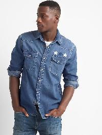 Gap Americana Denim Western Slim Fit Shirt - Medium indigo