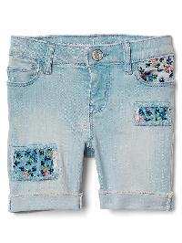 Gap Stretch Floral Rip & Repair Bermuda Shorts - Light wash