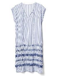 Gap Stripe Embroidery Caftan - Blue & white stripe