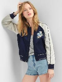 Gap Floral Embroidery Bomber Jacket - Blue