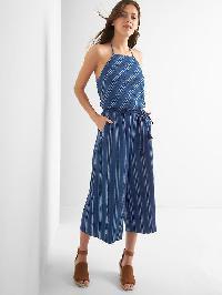 Gap Stripe Apron Neck Culotte Jumpsuit - Blue stripe