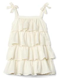 Gap Tiered Ruffle Bow Dress - Ivory frost