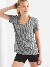 Gap Breathe Stripe V Neck Tee - Heather grey