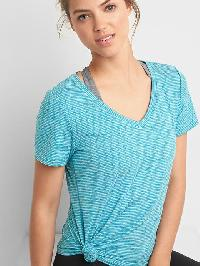 Gap Breathe Stripe V Neck Tee - Truly teal