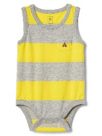 Gap Rugby Stripe Tank Bodysuit - Fresh yellow