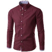 Men's Slimming Long Sleeves Checked Button Turn Down Collar Shirt - DARK RED