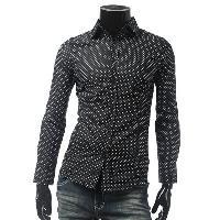 Long Sleeve Polka Dot Shirt - BLACK