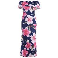 Off The Shoulder Ruffle Floral Maxi Dress - COLORMIX