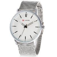 CURREN 8233 Fashion Steel Net Strap Simple Nailed Scale Male Quartz Watch - WHITE