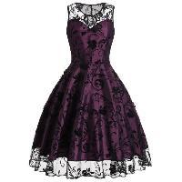 Floral Tulle Midi Sleeveless Vintage Dress - PURPLISH RED