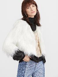 Color Block Open Front Faux Fur Coat