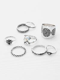 Faux Pearl Multi Shaped Ring Pack