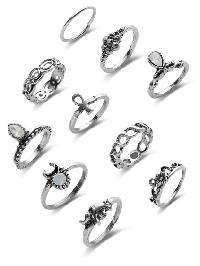 Mixed Gemstone Etched Ring Pack
