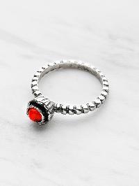 Gemstone Detail Textured Ring