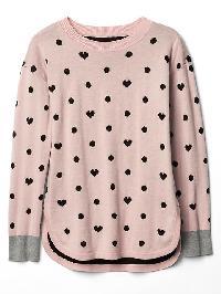 Gap Dotty Heart Jacquard Sweater - Pink standard