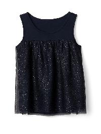 Gap Shimmer Tulle Luxe Tank - Blue galaxy