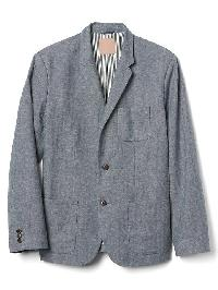 Gap Linen Cotton Herringbone Blazer - Indigo