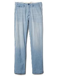 Gap Denim Slim Fit Chinos (Stretch) - Bleached indigo