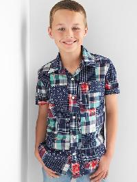 Gap Patchwork Short Sleeve Shirt - Elysian blue