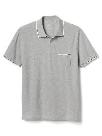 Gap Short Sleeve Pique Polo - Heather grey