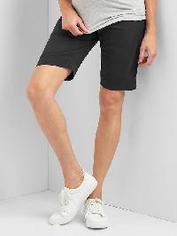 Gap Maternity Inset Panels Twill Bermuda Shorts - True black