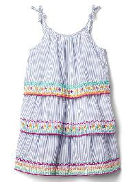 Gap Embroidery Stripe Tier Dress - Blue white stripe