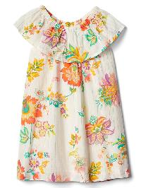 Gap Shimmer Floral Ruffle Dress - White/orange flower