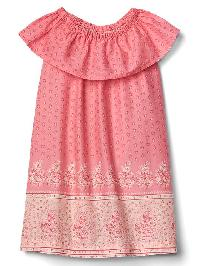 Gap Floral Border Ruffle Dress - Ruby pink