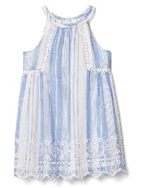 Gap Pom Pom Eyelet Dress - Multi stripe