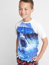 Gap Graphic Short Sleeve Rashguard - Optic white shark