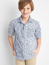 Gap Mix Plaid Poplin Convertible Shirt - New zephyr