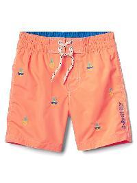 Gap Pineapple Embroidery Swim Trunks - Jos orange