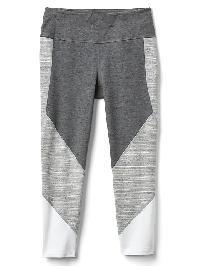Gap Gfast Performance Cotton Colorblock Capris - Cement grey spacedye