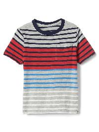 Gap Stripe Block Pocket Tee - Grey