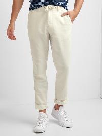 Gap Linen Cotton Drawstring Slim Fit Pants - New stone