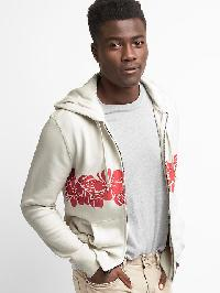 Gap French Terry Hibiscus Zip Hoodie - Carls stone