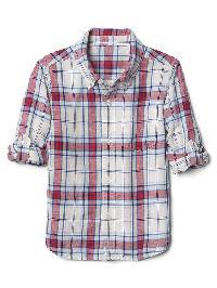 Gap Plaid Linen Blend Convertible Shirt - Off white