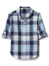 Gap Bold Plaid Linen Blend Convertible Shirt - Blue focus