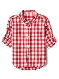 Gap Check Poplin Convertible Shirt - Pepper red