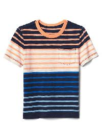 Gap Stripe Block Pocket Tee - Elysian blue