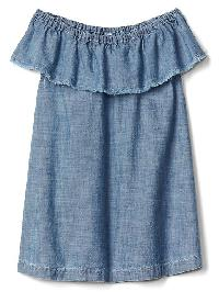 Gap Ruffle Chambray Dress - Denim