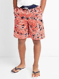 Gap Palm Leaves Swim Trunks - Neon coral flame