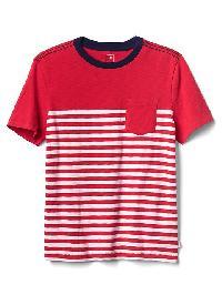 Gap Stripe Short Sleeve Pocket Tee - Pepper red