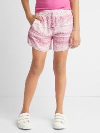 Gap Print Pull On Tassel Shorts - Floral purple print
