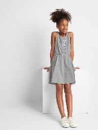 Gap Embellished Graphic Tie Tank Dress - Grey heather
