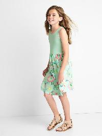Gap Print Skirt Tank Dress - Aqua sea 771