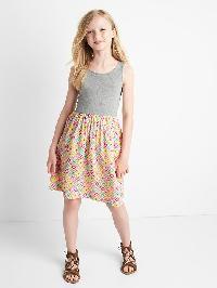 Gap Print Skirt Tank Dress - Light heather grey