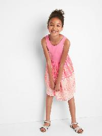 Gap Print Skirt Tank Dress - Neon impulsive pink