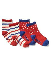 Gap Stars & Stripes Socks (2 Pairs) - Pepper red